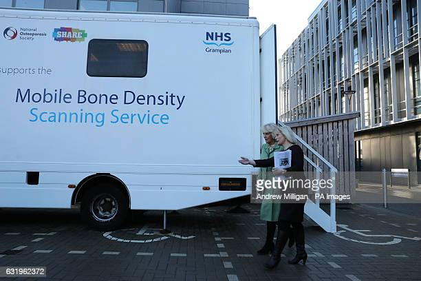 The Duchess of Cornwall known as the Duchess of Rothesay while in Scotland views the Mobile Bone Density Scanning centre during her visit to the...