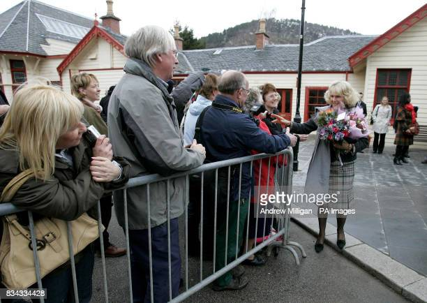 The Duchess of Cornwall meeting with the public outside the old railway station in Ballater Royal Deeside where a reproduction Victorian railway...