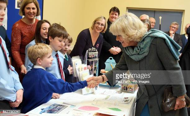 The Duchess of Cornwall meets children from the Sunday school at St George's Church in Belfast