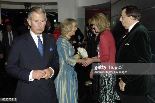 The Duchess of Cornwall meets Joanna Lumley alongside the Prince of Wales Patron of mental health charity SANE and Barry Humphries at the John...