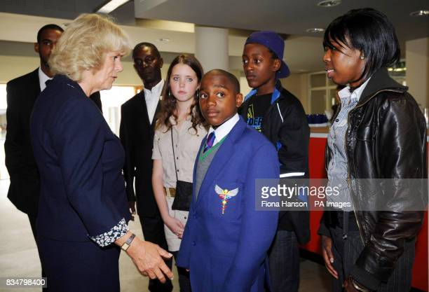 The Duchess of Cornwall meets members and young riders at the Ebony Horse Club in Brixton London including rider and youth worker Arron Kidanie youth...