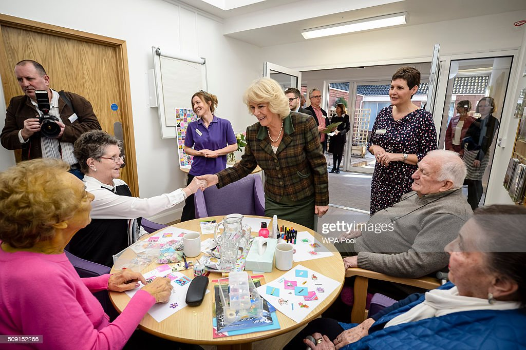 The Duchess of Cornwall meets staff and patients during a visit to Prospect Hospice's new facility at Savernake Hospital which gives care and support to patients, carers and families dealing with terminal illness on February 9, 2016 in Marlborough, England.