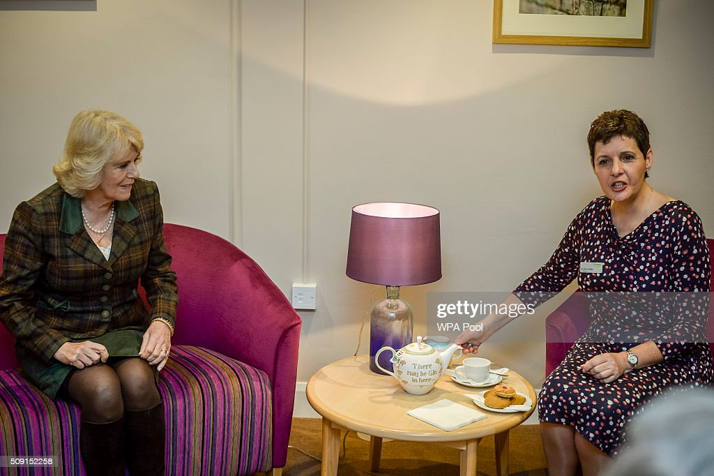 The Duchess of Cornwall sits for a cup of tea with Chief Executive Angela Jordan during a visit to Prospect Hospice's new facility at Savernake Hospital which gives care and support to patients, carers and families dealing with terminal illness on February 9, 2016 in Marlborough, England.