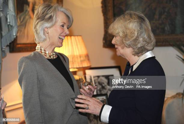 The Duchess of Cornwall speaks to Joanna Trollope at a reception to launch the Southbank Centre's Women of the World Festival