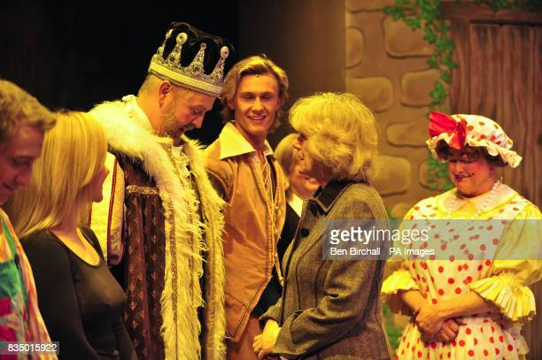 The Duchess of Cornwall speaks with cast members from the pantomime Jack and the Beanstalk as the runnerup on the BBC's Any Dream Will Do competition...