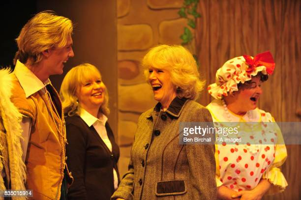 The Duchess of Cornwall speaks with the runnerup on the BBC's Any Dream Will Do competition Lewis Bradley a cast members from the pantomime Jack and...