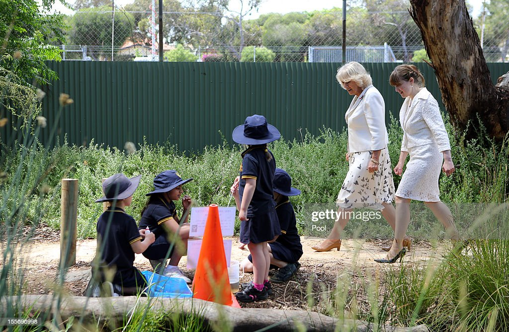 The Duchess of Cornwall (L) speaks with the South Australia Minister for Education and Child Development, Grace Portolesi during a visit to Kilkenny Primary School on November 7, 2012 in Adelaide, Australia. The Royal couple are in Australia on the second leg of a Diamond Jubilee Tour taking in Papua New Guinea, Australia and New Zealand.