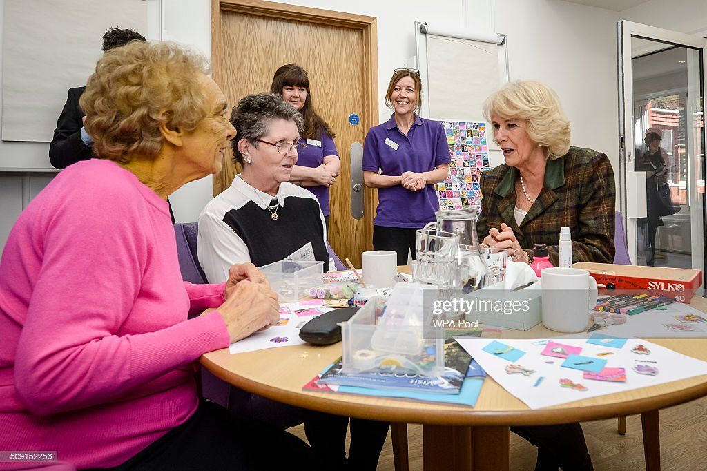 The Duchess of Cornwall talks with patients Jean Sheppard (left) and Sandi Morgan during a visit to Prospect Hospice's new facility at Savernake Hospital which gives care and support to patients, carers and families dealing with terminal illness on February 9, 2016 in Marlborough, England.