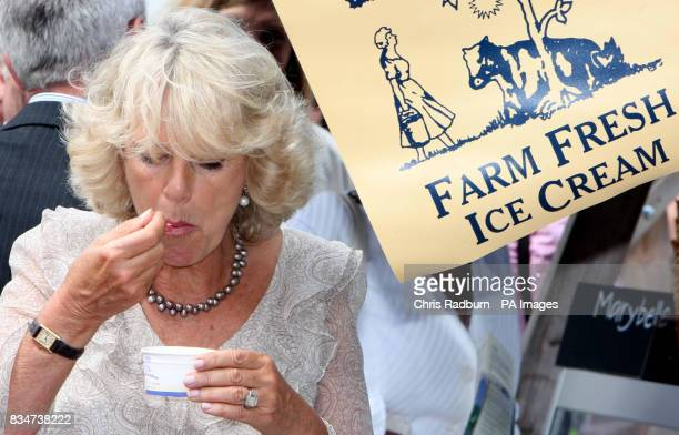 The Duchess of Cornwall tastes Ice Cream during a visit to Snape Maltings in Suffolk