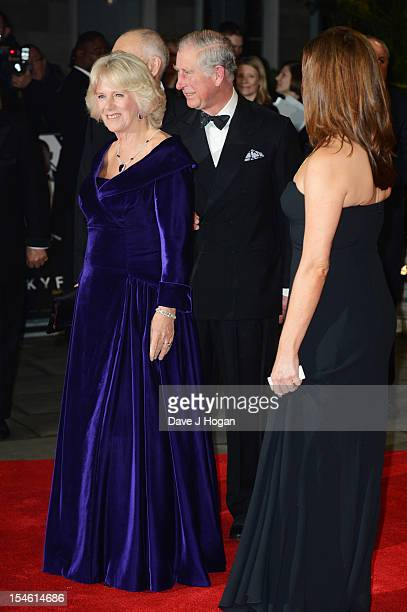 The Duchess of Cornwall The Prince of Wales and Barbara Broccoli attend the Royal world premiere of 'Skyfall' at The Royal Albert Hall on October 23...