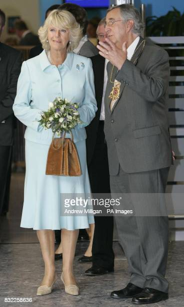 The Duchess of Cornwall with Aberdeen provost John Reynolds during a visit to Aberdeen Airport to officially open the new British Airways Terraces...