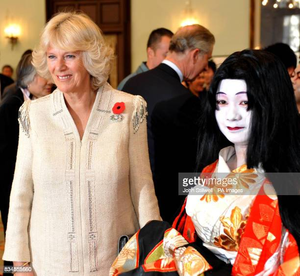 The Duchess of Cornwall with Japanese student Miki Endo after she performed traditional Kubuki Theatre at the Keio University in central Tokyo this...