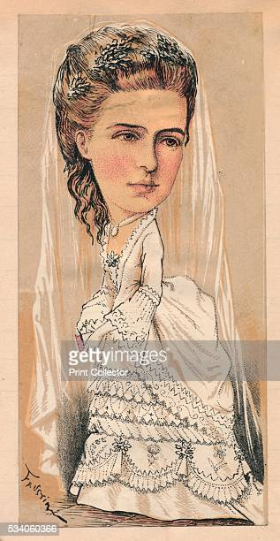 HRH The Duchess of Ednburgh' from 'The London Sketchbook' illustration by Faustin Betbeder 1874 Caricature of Grand Duchess Marie Alexandrovna...
