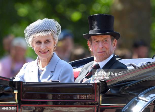 The Duchess of Gloucester and Duke of Kent attend the annual Trooping The Colour parade at the Mall on June 17 2017 in London England