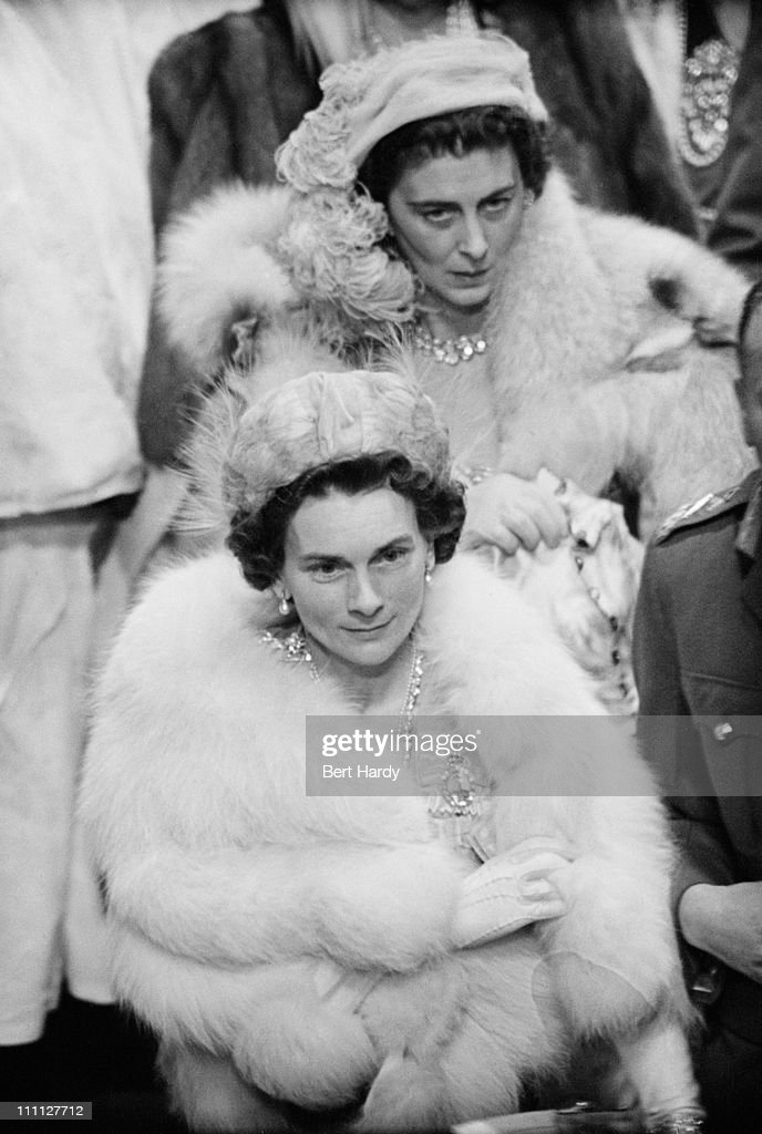 The Duchess of Kent (1906 - 1968 and the Duchess of Gloucester (1901 - 2004) at Westminster Abbey, London, for the wedding of Princess Elizabeth (later Queen Elizabeth II) and Prince Philip, 20th November 1947. Original Publication: Picture Post - 4438 - Royal Wedding - pub. 1947