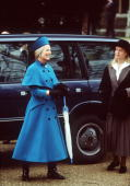 The Duchess Of Kent And Lady Helen Windsor In Sandringham For Christmas Arriving In A Range Rover Four Wheel Drive Car