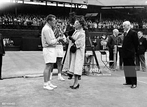 HRH The Duchess of Kent presents the men's singles trophy to Tony Trabert following his straight sets victory