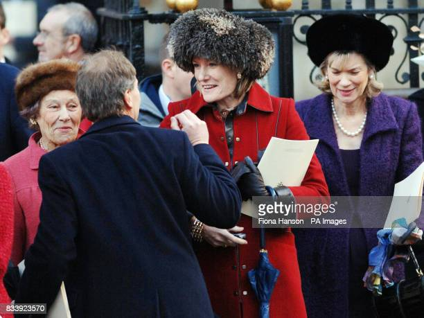 The Duchess of Westminster wife of the Duke of Westminster leaves Westminster Abbey London after a service of celebration to mark the diamond wedding...