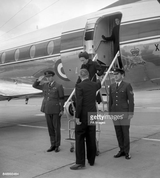 The Duchess of Windsor is helped down from the plane by Earl Mountbatten of Burma representing the Queen on her arrival at Heathrow The Duchess went...