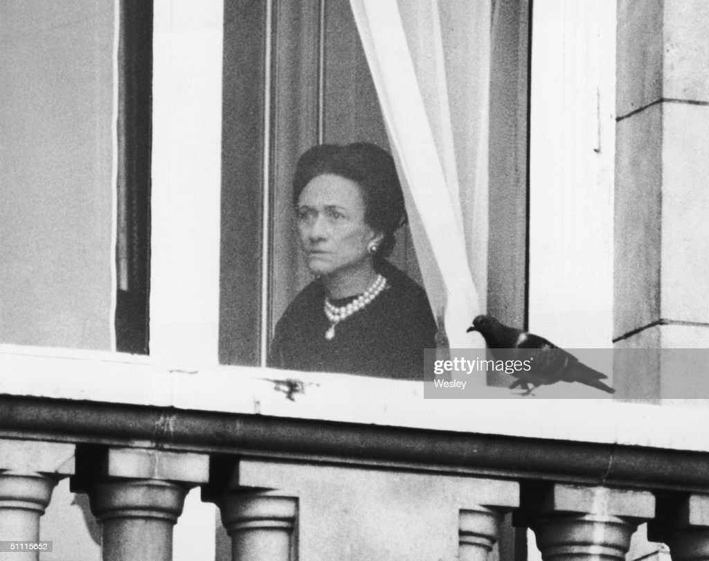 The Duchess of Windsor (1896 - 1986) watches the start of the Trooping the Colour ceremony from a first floor window of Buckingham Palace, 3rd June 1972. A one minute silence was observed for the Duke of Windsor, who had died in Paris the week before.