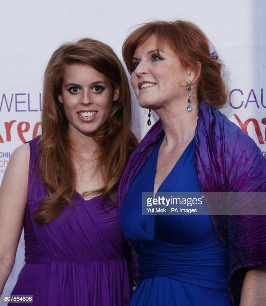 The Duchess of York and her daughter Princess Beatrice arriving at The Caudwell Children Butterfly Ball at Battersea Evolution in south London