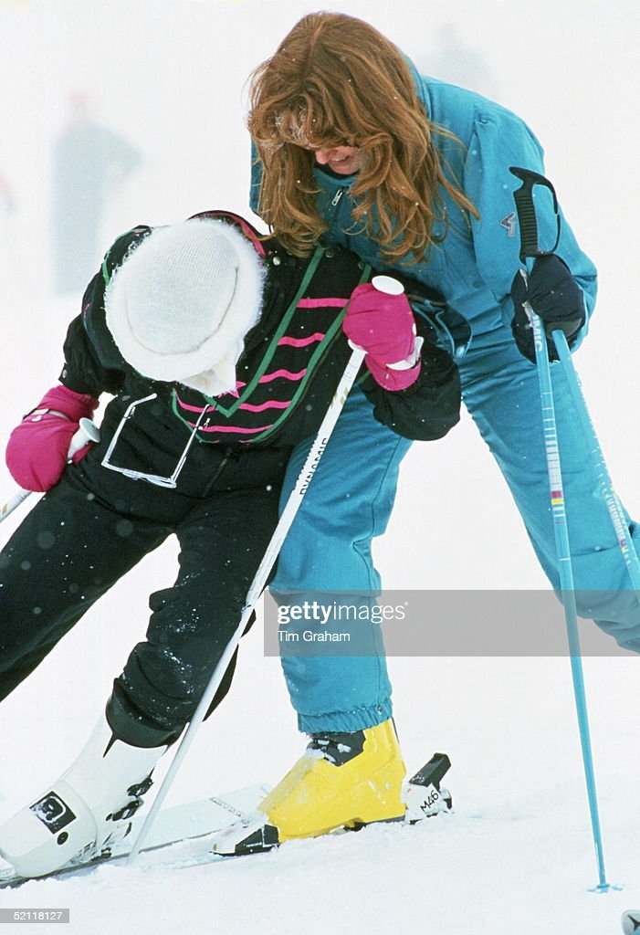 The Duchess Of York And Princess Diana Having Fun On Holiday In Klosters