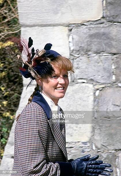 The Duchess Of York Attending An Easter Service At St Georges Chapel Windsor