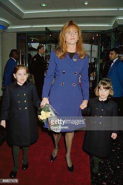 The Duchess of York attends a charity premiere of 'A Little Princess' in London with her daughters Beatrice and Eugenie 5th February 1996