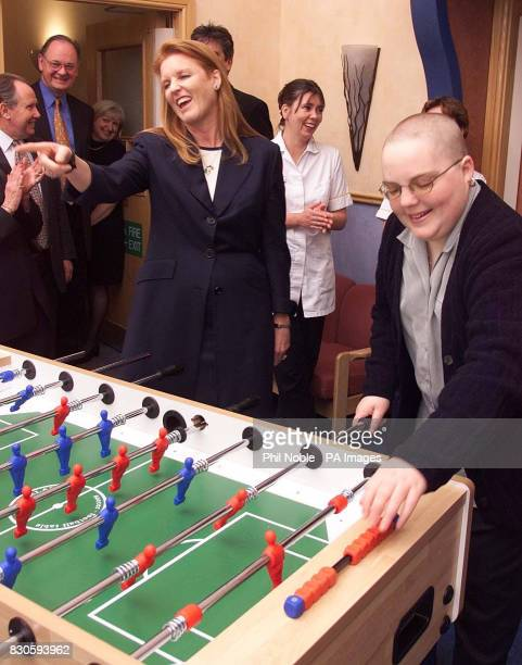 The Duchess of York plays table football during her visit to the Christies Cancer hospital in Manchester The Duchess Patron of the Teenage Cancer...