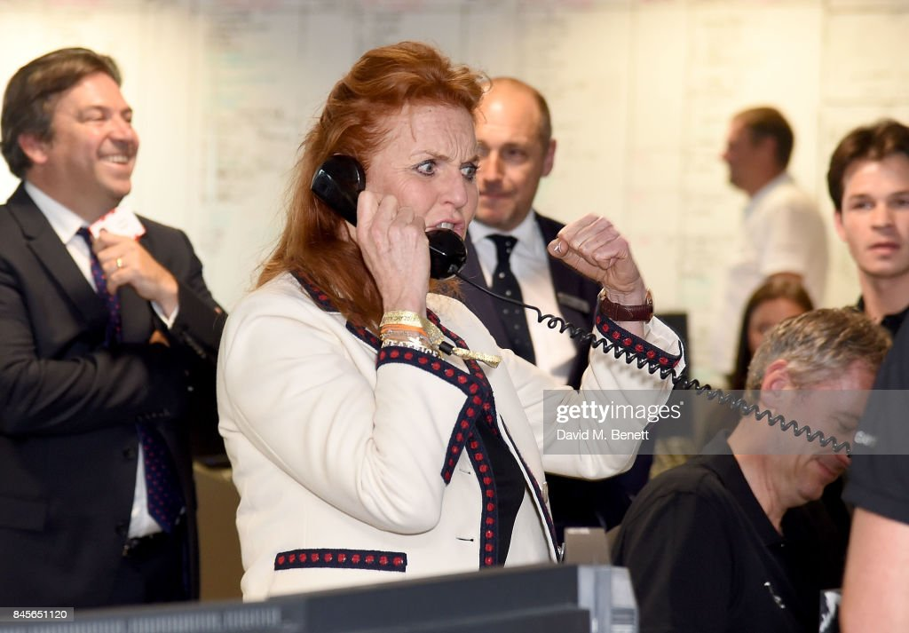 The Duchess of York representing Children in Crisis, makes a trade at BGC Charity Day on September 11, 2017 in Canary Wharf, London, United Kingdom.