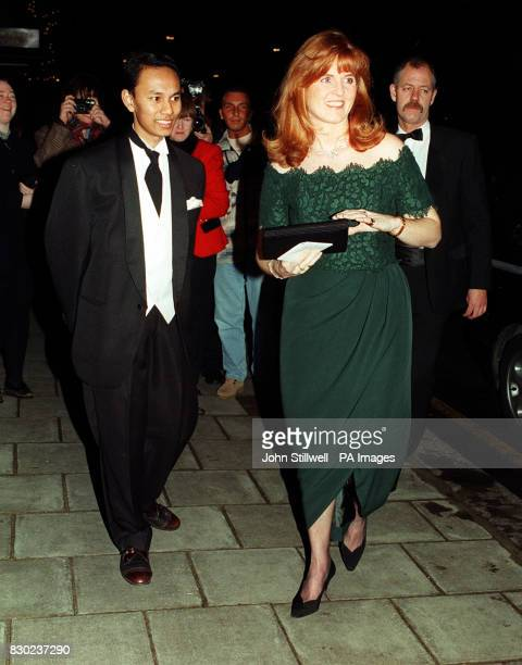 The Duchess of York Sarah Ferguson arrives at the Dorchester Hotel in London to attend a dinner given by the Malaysian students Law Society with the...