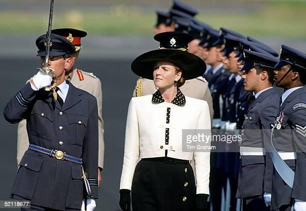 The Duchess Of York Sarah Ferguson At Raf Gaton In Berlin Inspecting The Guard Of Honour