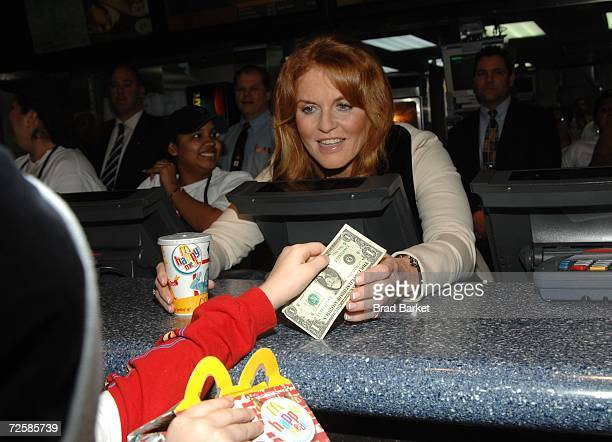 The Duchess of York Sarah Ferguson serves Happy Meals at the Ronald McDonald House Of New York Celebrates World Children's Day at McDonald's...