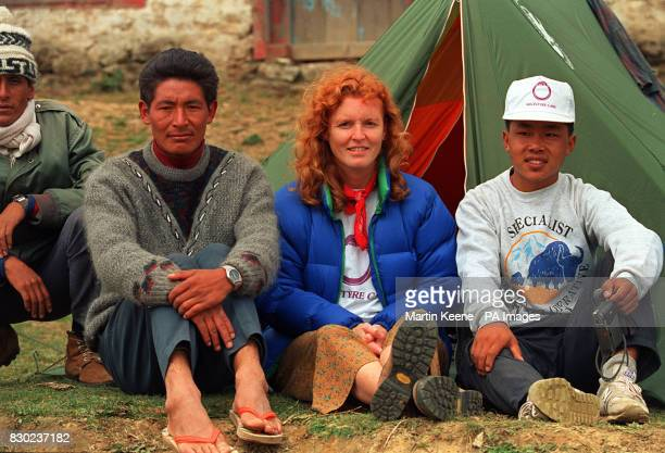 The Duchess of York who is trekking with disabled mountaineers in the Himalayas with Neplalese policeman amd personal sherpa