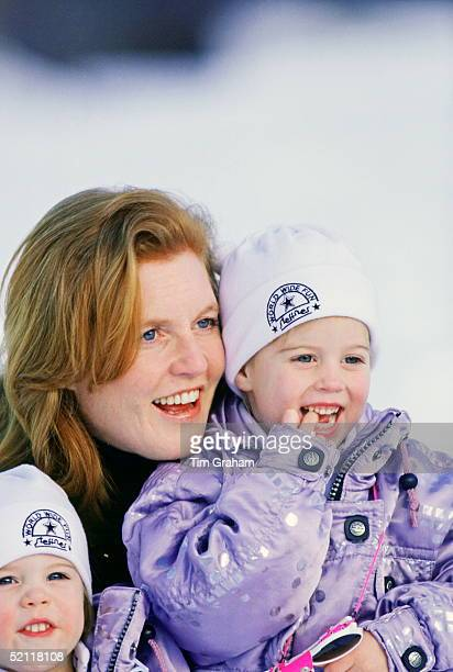 The Duchess Of York With Her Daughters Princess Eugenie And Princess Beatrice On Holiday In Klosters