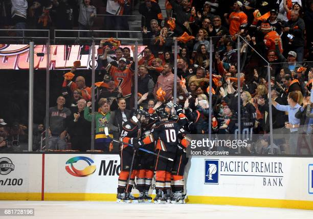 The Ducks celebrate after Anaheim Ducks Winger Rickard Rakell scored the goahead goal in the third period during game 7 of the second round of the...