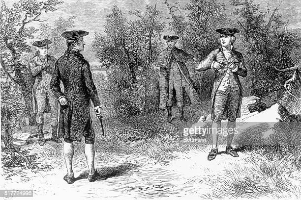 The duel between Alexander Hamilton and Aaron Burr undated illustration