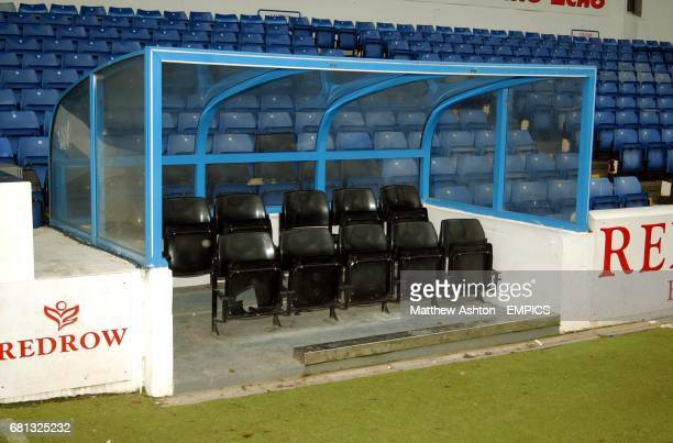 The dug out at Cardiff City's Ninian Park where Scotland manager Jock Stein had his heart attack when Wales played Scotland in 1985