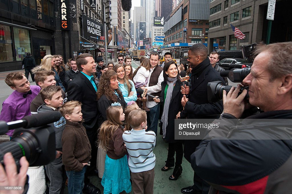The Duggar family visits 'Extra' in Times Square on March 11, 2013 in New York City.