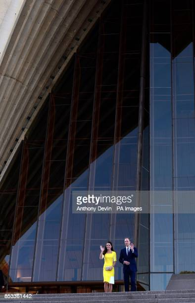 The Duke and Duchess leave the Sydney Opera House following a reception hosted by the Governor and Premier of New South Wales during the tenth day of...