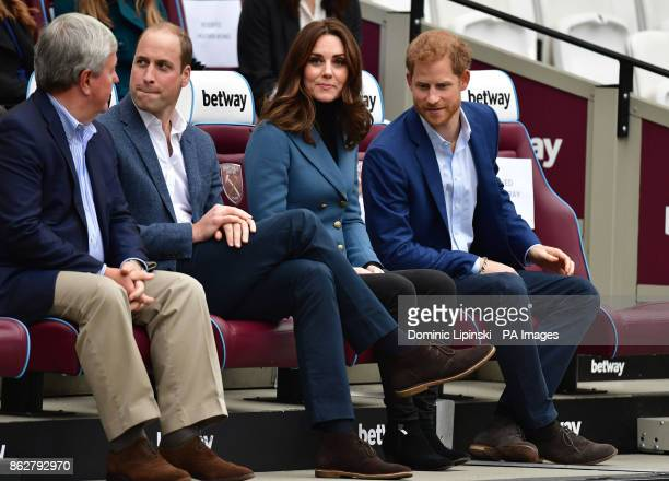 The Duke and Duchess of Cambridge and Prince Harry at West Ham UnitedOtildes London Stadium as attend the graduation ceremony for more than 150 Coach...