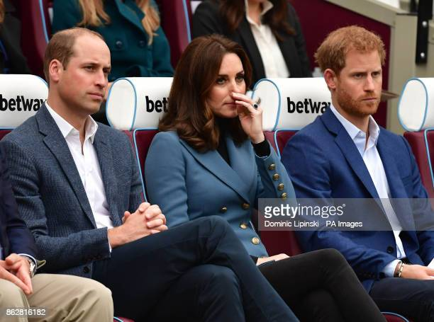 The Duke and Duchess of Cambridge and Prince Harry at West Ham UnitedOtildes London Stadium as they attend the graduation ceremony for more than 150...