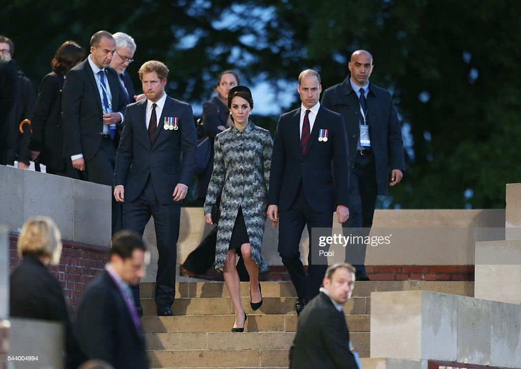 The Duke and Duchess of Cambridge and Prince Harry attend part of a military-led vigil to commemorate the 100th anniversary of the beginning of the Battle of the Somme at the Thiepval memorial to the Missing in June 30, 2016 in Thiepval, France. The event is part of the Commemoration of the Centenary of the Battle of the Somme at the Commonwealth War Graves Commission Thiepval Memorial in Thiepval, France, where 70,000 British and Commonwealth soldiers with no known grave are commemorated.