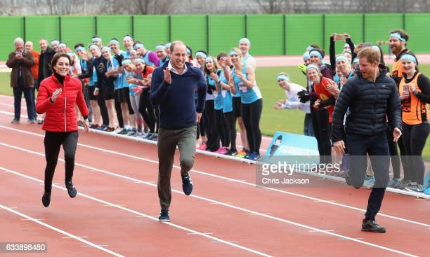 The Duke and Duchess of Cambridge and Prince Harry join Team Heads Together at a London Marathon Training Day at the Queen Elizabeth Olympic Park on...