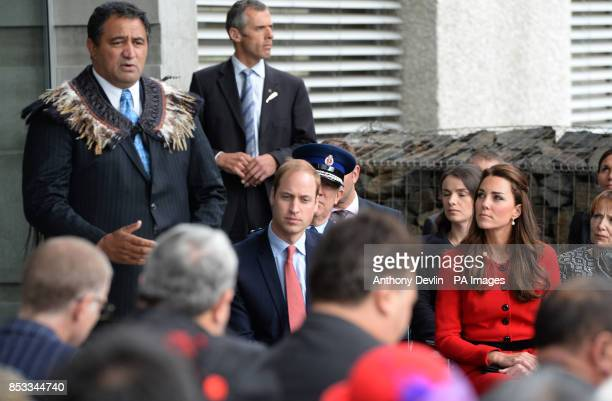 The Duke and Duchess of Cambridge are greeted by members of the Ngai Tahu iwi as they attend a welcome ceremony at Christchurch City Council Building...
