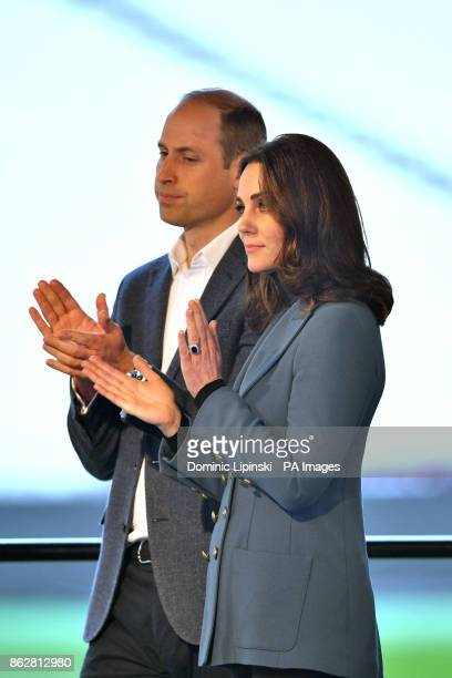 The Duke and Duchess of Cambridge at West Ham UnitedIacutes London Stadium applaud as they attend the graduation ceremony for more than 150 Coach...
