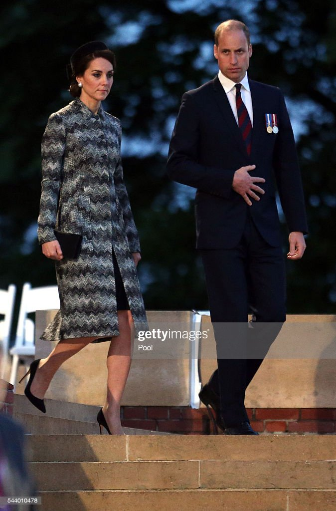 The Duke and Duchess of Cambridge attend part of a military-led vigil to commemorate the 100th anniversary of the beginning of the Battle of the Somme at the Thiepval memorial to the Missing in June 30, 2016 in Thiepval, France. The event is part of the Commemoration of the Centenary of the Battle of the Somme at the Commonwealth War Graves Commission Thiepval Memorial in Thiepval, France, where 70,000 British and Commonwealth soldiers with no known grave are commemorated.