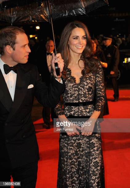 The Duke and Duchess of Cambridge attend the 'War Horse' UK film premiere at the Odeon Leicester Square on January 8 2012 in London England