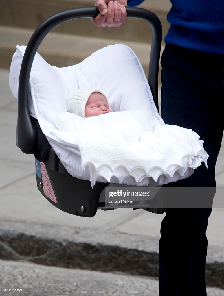 The Duke And Duchess of Cambridge leave the Lindo Wing, of St Marys Hospital, Paddington, with their new baby daughter, on May 2, 2015 in London, England.