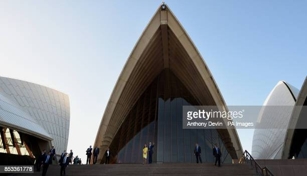 The Duke and Duchess of Cambridge leave the Sydney Opera House following a reception hosted by the Governor and Premier of New South Wales during the...